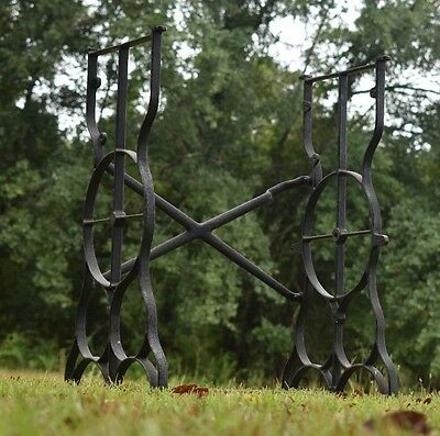 Antique Industrial Age Treadle Sewing Machine Cast Iron Base Table Legs Vintage
