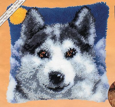 SNOW WOLF LATCH HOOK CUSHION FRONT KIT by VERVACO, 16 x 16 INS BRAND NEW