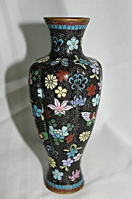 Antique Black Japanese Cloisonne Lobed Baluster Vase Tiny Flowers & Butterflies