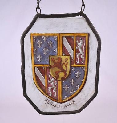 *Antique French Glass Panel with Image of a Coat of Arms