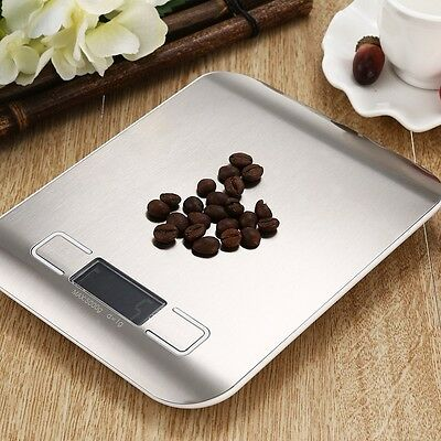 1g x 5kg Silver Digital LCD Electronic Kitchen Cooking Food Weighing Scales 11lb