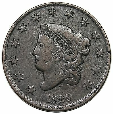 1829 Coronet Head Large Cent, Large Letters, scarce N-4, R.4, VF detail