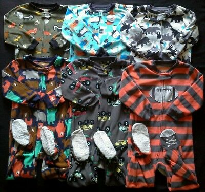Boys size 4T Carter's Sleepers footed pajamas clothes lot!