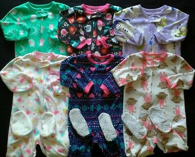 Girls 18 months Sleepers footed pajamas clothes lot!