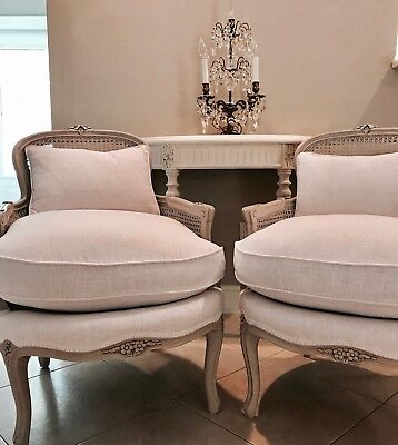 Antique French Linen Cane Bergere Chairs Pair