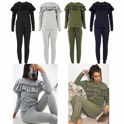 Ladies Girls Ruffle Frill Loungewear Mother Daughter 2 Piece Jogging Suit Co ord