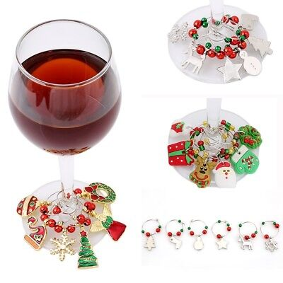 Set of 6 Christmas Wine Glass Charms Drink Markers Charm Rings Table Decoration