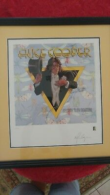 Alice Cooper autographed lithograph,  Welcome to my nightmare