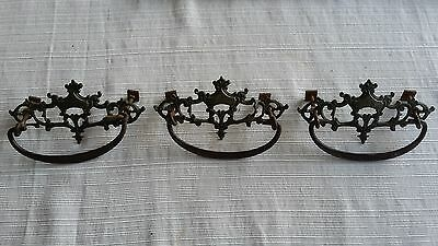 Set of 3 Antique Ornate Brass Dresser Handles or Drawer Pulls-Vintage