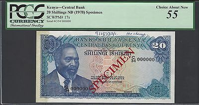 Kenya 20 Shillings ND(1978) P17s Specimen About Uncirculated