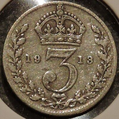 British Silver Threepence - 1913 - King George V - $1 Unlimited Ship
