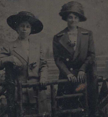 Portrait Of Two Women In Large Hats W/ Wooden Fence   Painted Backdrop