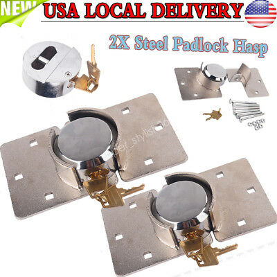 2PCS 73mm Round Puck Lock Hidden Shackle Utility Van Door Steel Padlock w/ Hasp