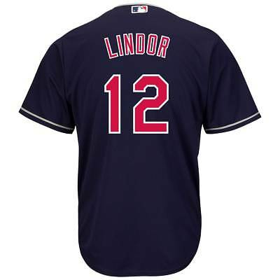 Majestic Francisco Lindor #12 Cleveland Indians Cool Base MLB Trikot Navy
