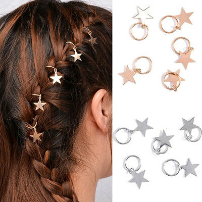 Jewelry Accessories Hair Shinny Rings For Braids Gold Cute Women 5Pcs