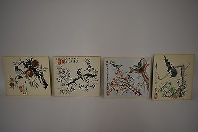 Vintage Japanese Ink Wash Paintings Sumi-e Bird (Lot of 4) Artist's Marking