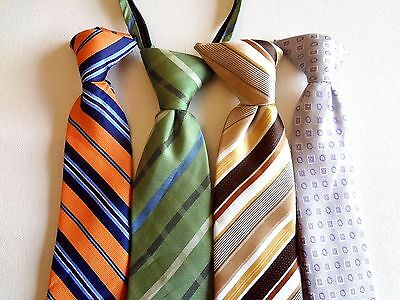 Boy's Pre-Tied Neck Ties (4) Ties For Ages 6 - 8  Years