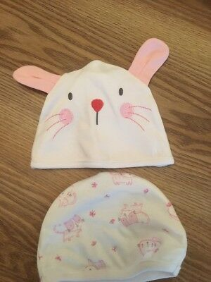 2 Baby Girls 3-6 Month Hats