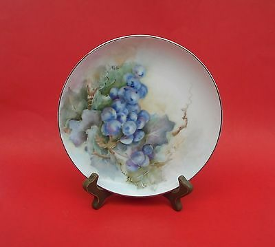 Vintage Small Hand Painted Fine China Sango Plate Decorative Grapes Silver Snow