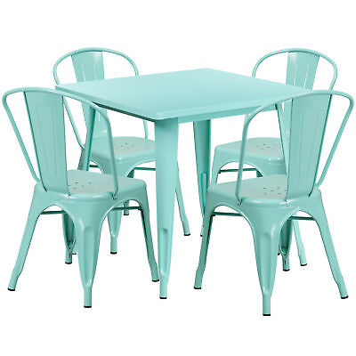 Flash Furniture 31.5'' Square Mint Green Metal Table Set With 4 Stack Chairs