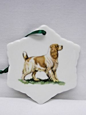 Brittany Spaniel Dog Snowflake Porcelain Christmas Tree Ornament Fired Decal-G