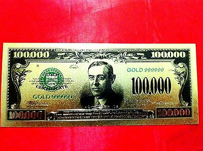 USD BANKNOTE USA AMERICA $100000 GOLD COLOURED DOLLAR BILL 24KT COLECTABLE + coa