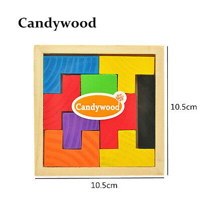 Educational Puzzle Wooden Tetris Game Jigsaw Wood Toys Kids Brain Teaser Puzzles