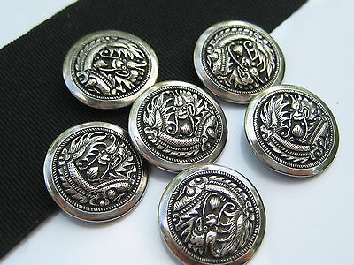 Antique Japanese Engraved Sterling Silver Dragon Motif Cufflink Buttons Signed