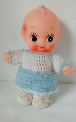 "Vintage 8"" Rubber Kewpie Doll With Crocheted Clothes Jointed Arms"