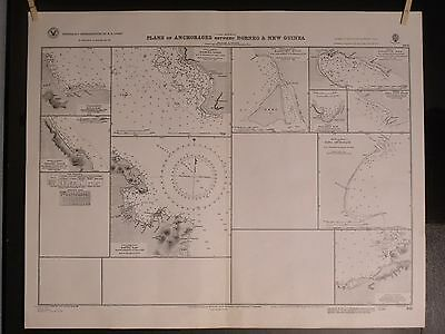 WWII Era Chart 911 Eastern Plans ~ Anchorages between Borneo & New Guinea