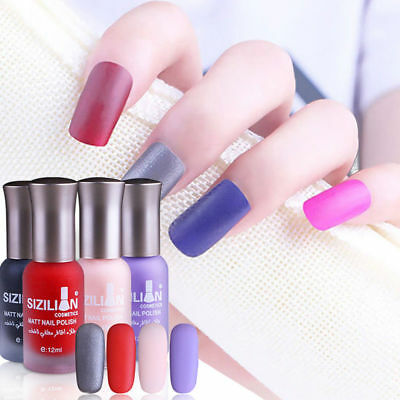 12 Colors 12ML Scrub Nail Polish Matte Top Coat Satin Frosted Manicure Nail Art