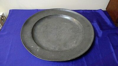 "Antique Single Reed Pewter Charger (18"")"