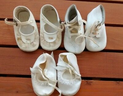 Vintage White Shoes Lot for Baby or Doll Satin Deer Mrs Day Ideal
