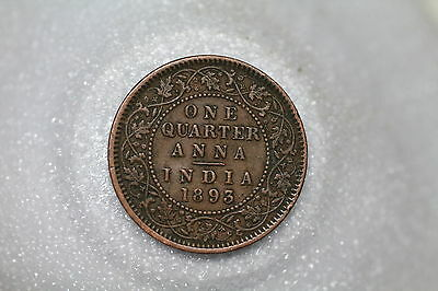 India 1/4 Anna 1893 Victoria Nice Details A53 #z46