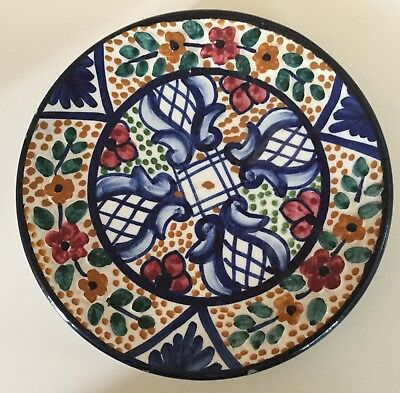 PINTADO A MANO Cobalt Blue Painted Autographed Plate Spanish