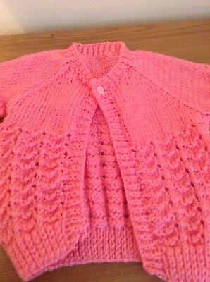 Hand Knitted Pink cardigan 0 To 3 Months