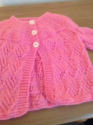Pink Hand Knitted Cardigan 0 To 3 Months