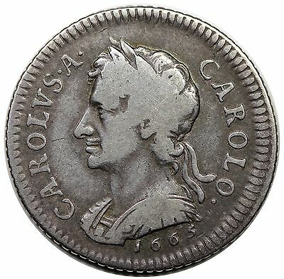 1665 Great Britain Pattern Farthing, Silver, Charles II, Peck 407, nice F