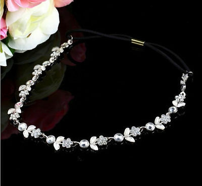Women Fashion Elastic Metal Rhinestone Crystal Headband Head Chain Hair Band USA