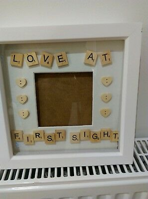 New baby/engagement box frame scrabble love at first sight