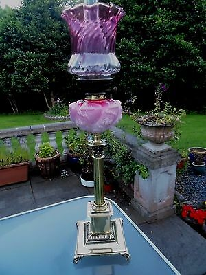 A Large Victorian Cranberry/pink Banquet Table Oil Lamp.