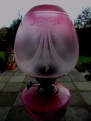 Superb Decorative Etch Cranberry/clear Duplex Oil Lamp Shade.