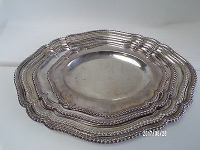 English Silver Plate Set of 4 Old Sheffield Plate platters C1820