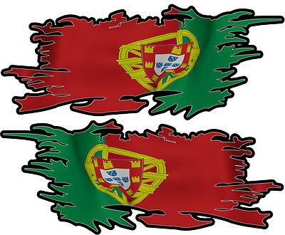 Portugal  Portugese Ripped Flag Left & Right 100Mm By 40Mm Gloss Laminated