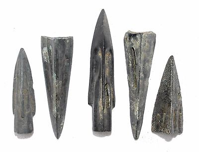Lot Of 5 Ancient Bronze Arrow Heads - Ancient Historical Artifacts Superb - J770