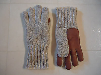 Ragg Wool Grey Tweed Gloves with Deer Palm Leather size M