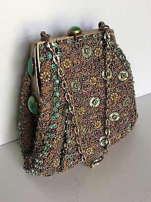 Stunning Vintage Beaded Bejeweled Gold w Green Accents Evening Bag, Work of Art!