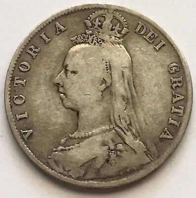 1890 UK Great Britain Half Crown Silver Coin (L397)