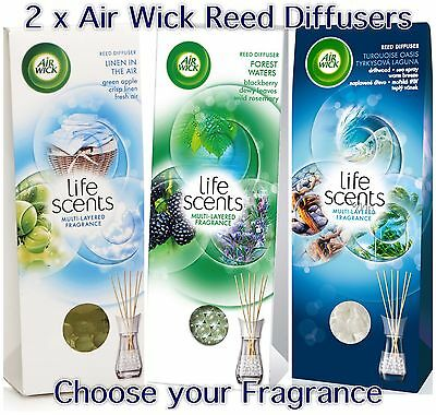 2 x AIR WICK LIFE SCENTS REED DIFFUSERS - CHOOSE YOUR FRAGRANCE - NEW SCENTS!