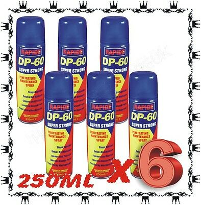 6 x DP60 LUBRICANT MAINTENANCE PENETRATING RELEASING CLEANING SPRAY 250ML